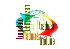 globe representing translation with the word translation written in English, German, Italian, Spanish and French