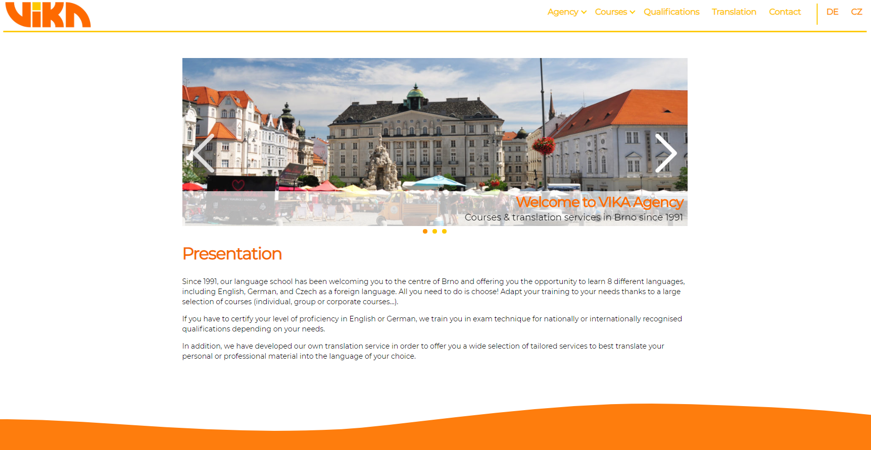 one of the projects - Vika Agency's website homepage